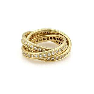 Cartier Full Circle Diamond 18k YGold Rolling Band