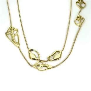 Tiffany Co 18k Gold Shell Station Snake Necklace