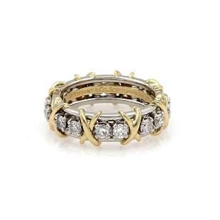 Tiffany & Co Diamond Platinum 18k Gold X Ring
