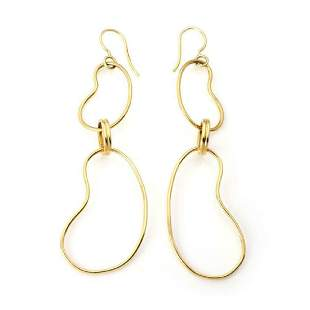 Ippolita 18k Gold Double Bean Shape Drop Earrings