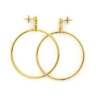 Louis Vuitton 18k Gold Large Fancy Hoop Earrings
