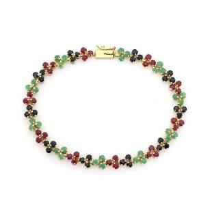 14k Gold 6ct Emerald Ruby Sapphire Floral Bracelet