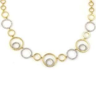 Modern 14ct Diamond 18k Gold Circle Link Necklace