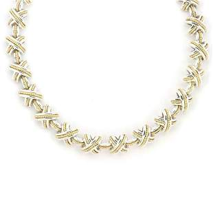 TiffanyCo Sterling 18k Signature X Link Necklace