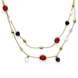 Roberto Coin Diamond Coral Onyx 18k Gold Necklace