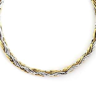 Italy 14k Gold 85mm Thick Woven Link Necklace