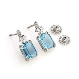 18k Gold 725ct Aquamarine Diamond Dangle Earrings
