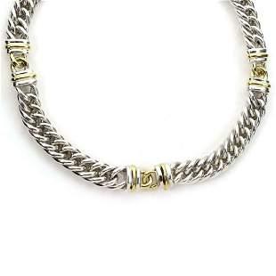 Christofle Sterling 18k Gold Curb Link Necklace