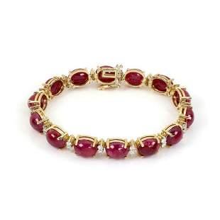 Vintage 715ct Ruby Diamond 14k Oval Link Bracelet