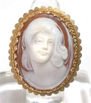 14k Gold Shell cameo Carved Ladys Head Oval Ring