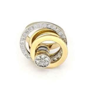 Designer 18k Gold Diamond Circle Spinner Top Ring