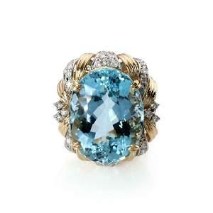 30.81ct Aquamarine Diamond 18k Gold Platinum Ring
