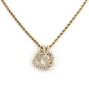 Movado 2ct Diamond 18k Gold Spinner Necklace
