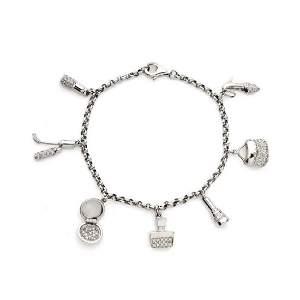 14k White Gold Diamond Charms Bracelet