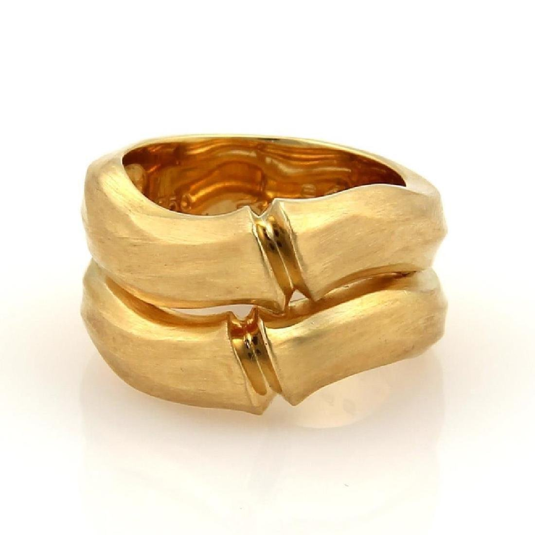 Cartier Double Bamboo 18k Gold Stack Bands Ring