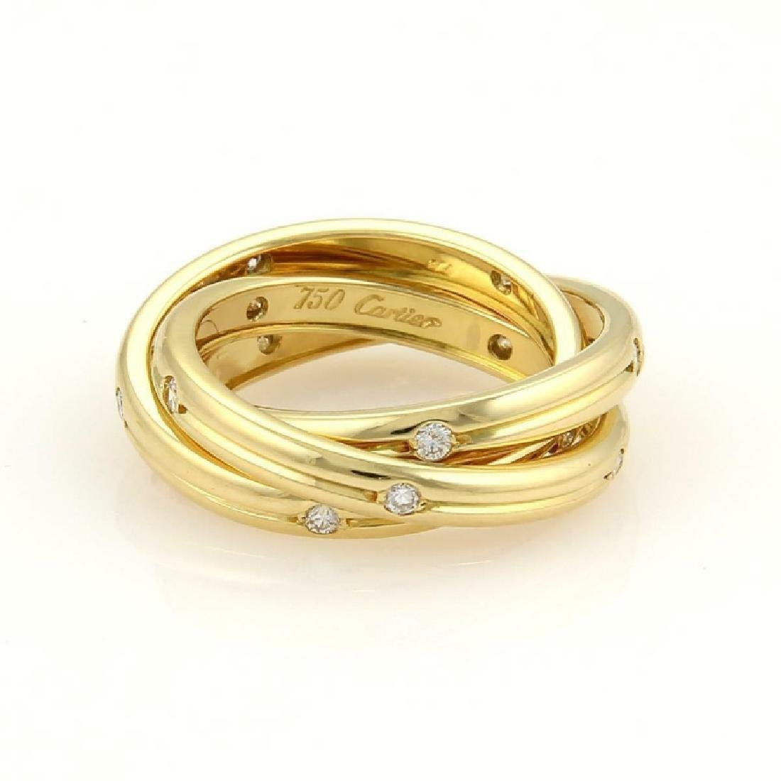 Cartier Trinity Diamond 18k Gold 3mm Grooved Ring