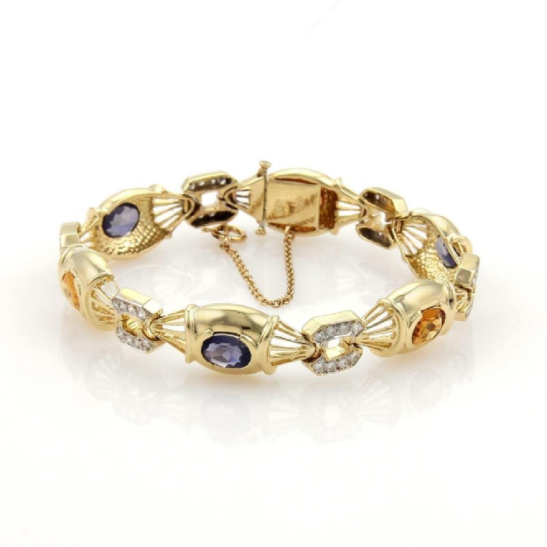 7.85ct Diamonds Iolite Citrine 14k YGold Bracelet