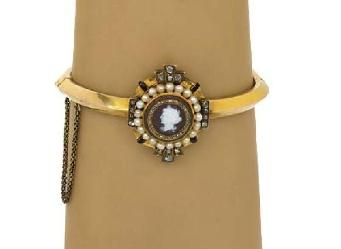 Victorian 18k Gold Shell Cameo Seed Pearl Bangle