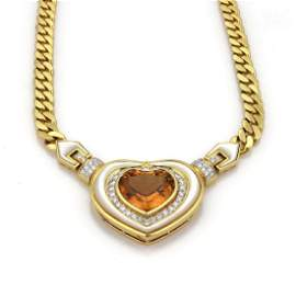 16.75ctw Citrine Mother of Pearl18k Heart Necklace