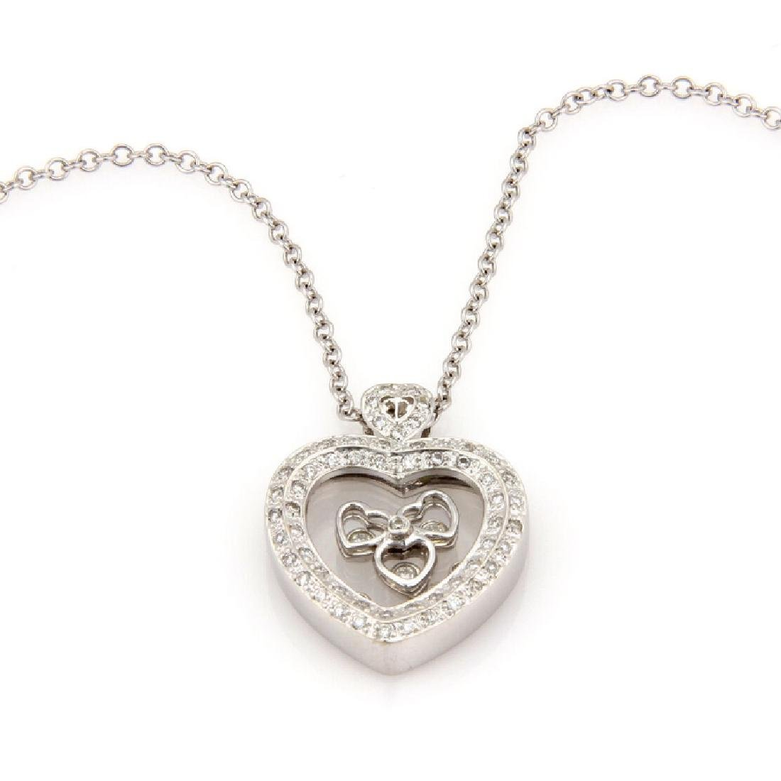 14K Italian Floating Diamond Heart Pendant Necklac