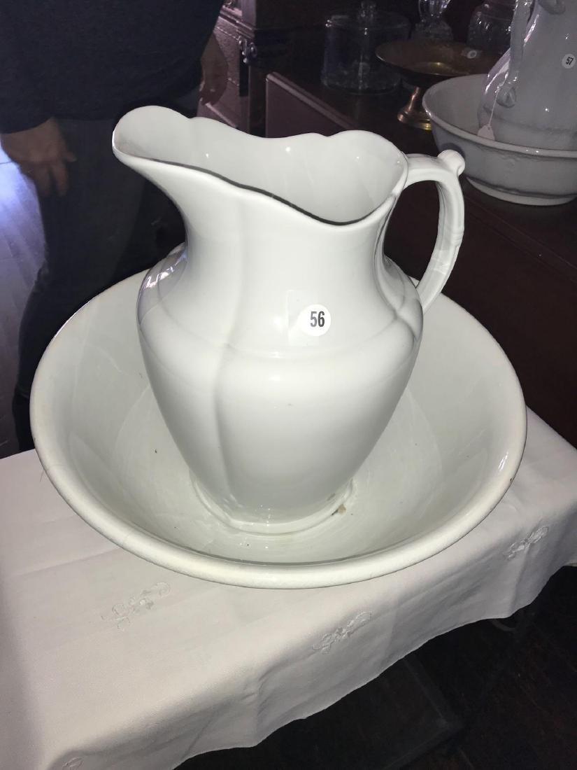 J & G Meakin iron stone pitcher and bowl set. Height of