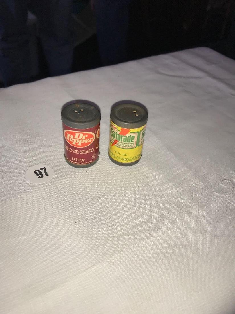 Mini Salt and pepper shakers; Dr Pepper and Gatorade