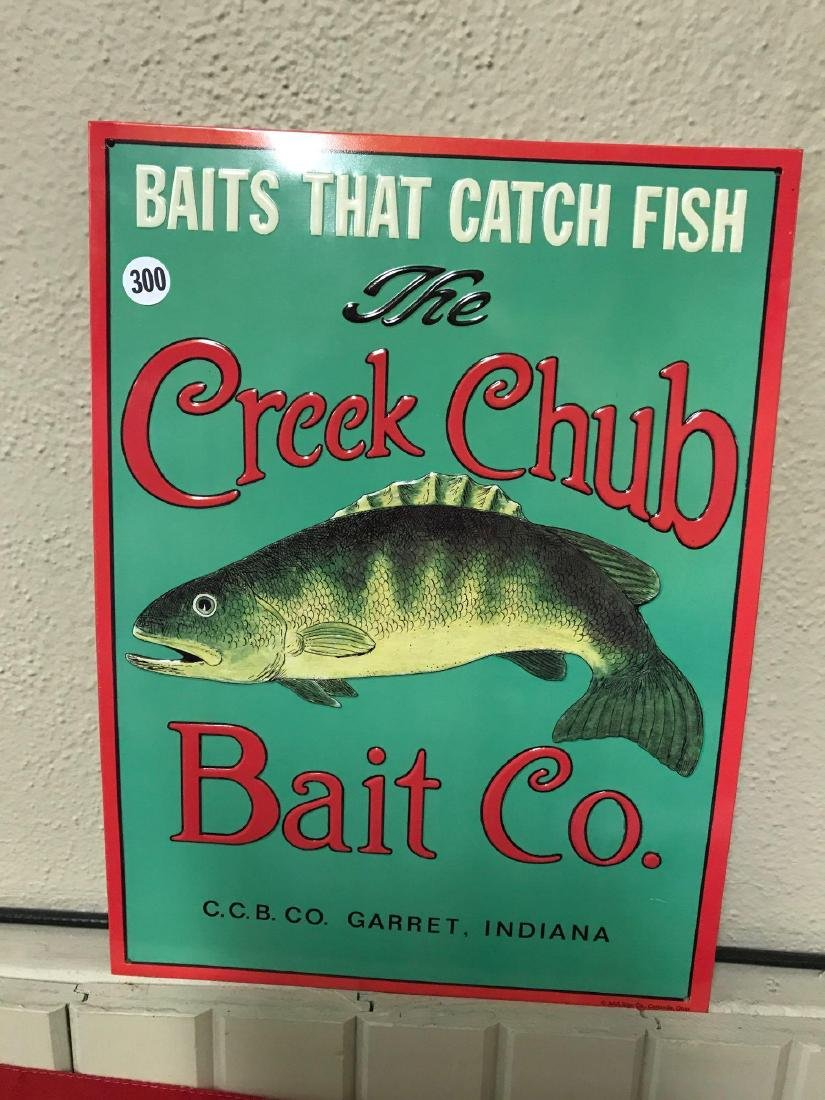 "Creek Club Bait Co. tin sign. Approx 11""x"