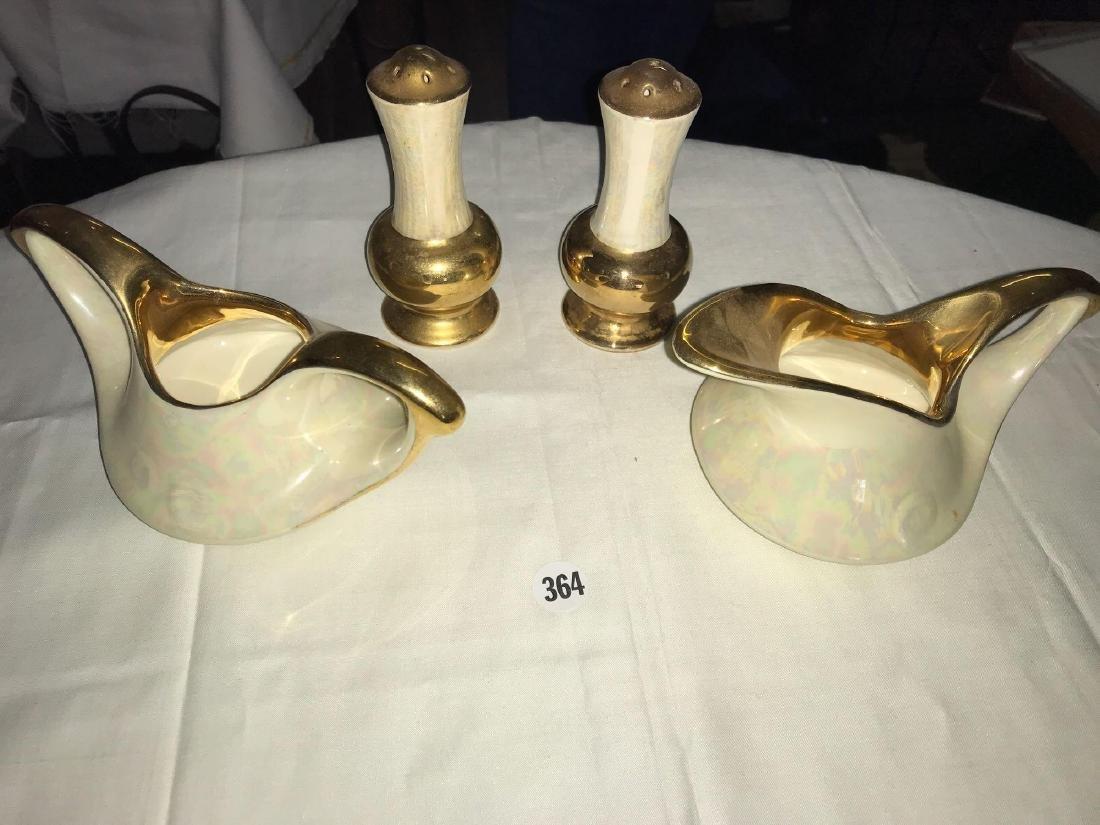 Pearl and 22 carat gold creamer bowl, sugar bowl, and