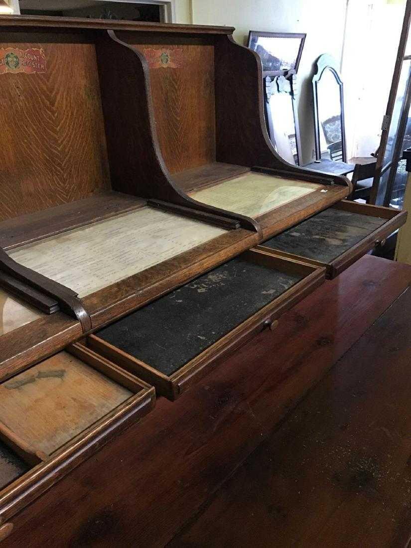 McCaskey, Oak, 1910, triple work station cash register.