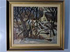 Robert F Glidden Oil Painting Church Snow Trees
