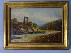 Antique Unread Signed Oil Painting River Scene