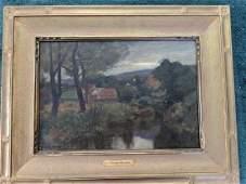 Antique Francis Murphy Oil Painting Landscape Scene
