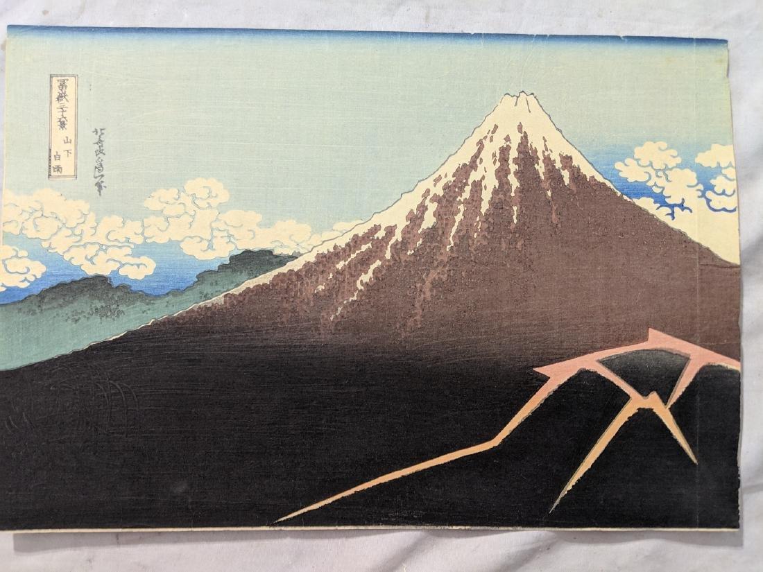 Old Katsushika Hokusai Japanese Woodblock Print Mt Fuji