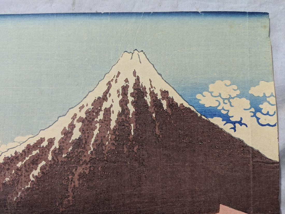 Old Katsushika Hokusai Japanese Woodblock Print Mt Fuji - 4
