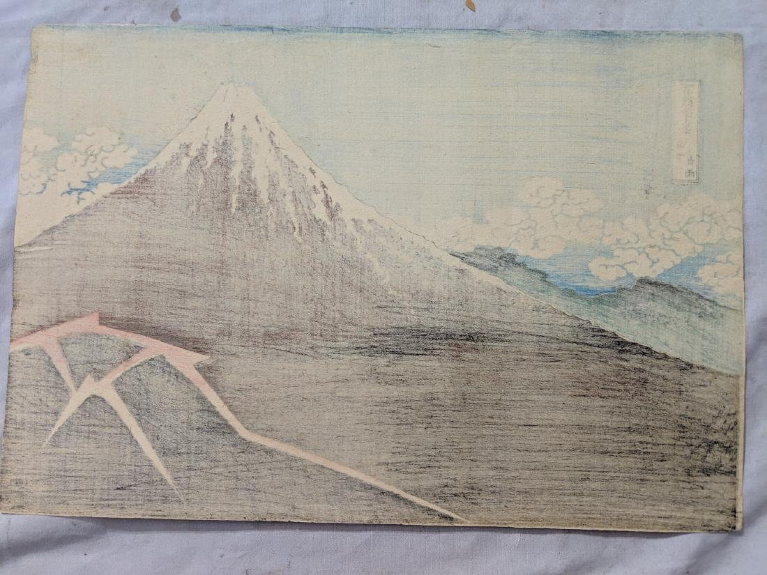 Old Katsushika Hokusai Japanese Woodblock Print Mt Fuji - 8