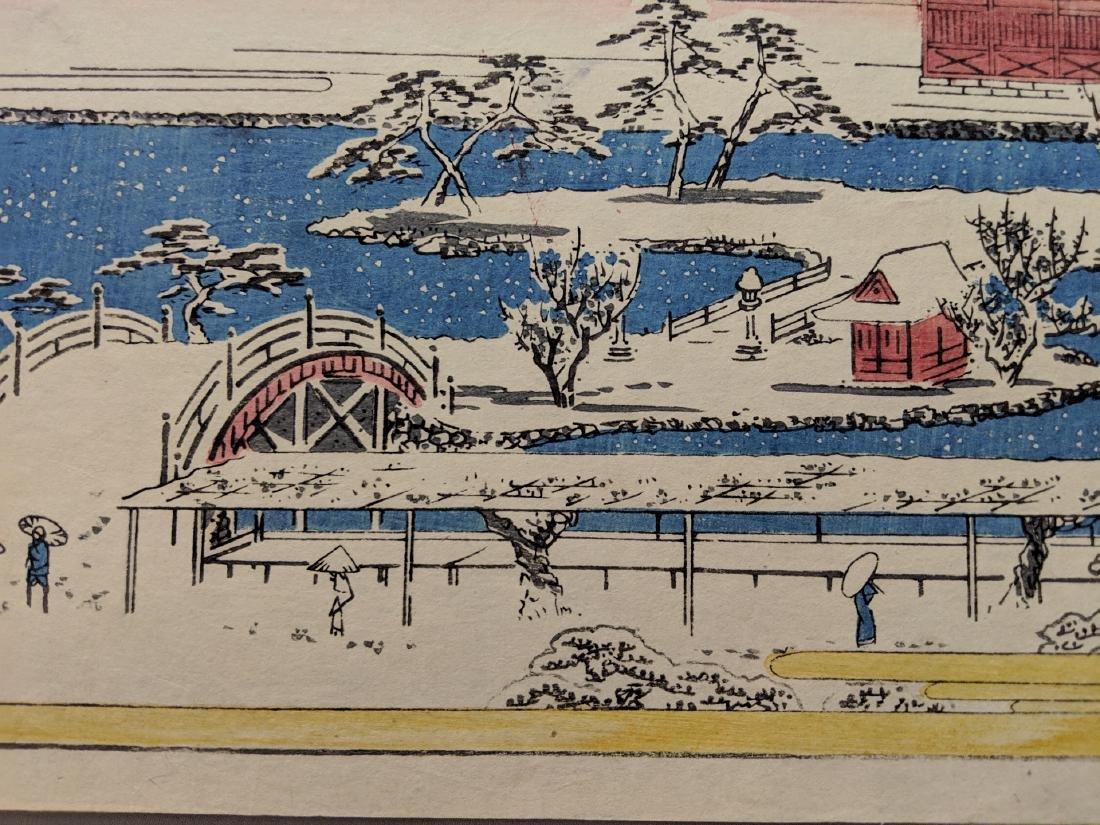 Old Utagawa Hiroshige Japanese Woodblock Print Kameido - 6