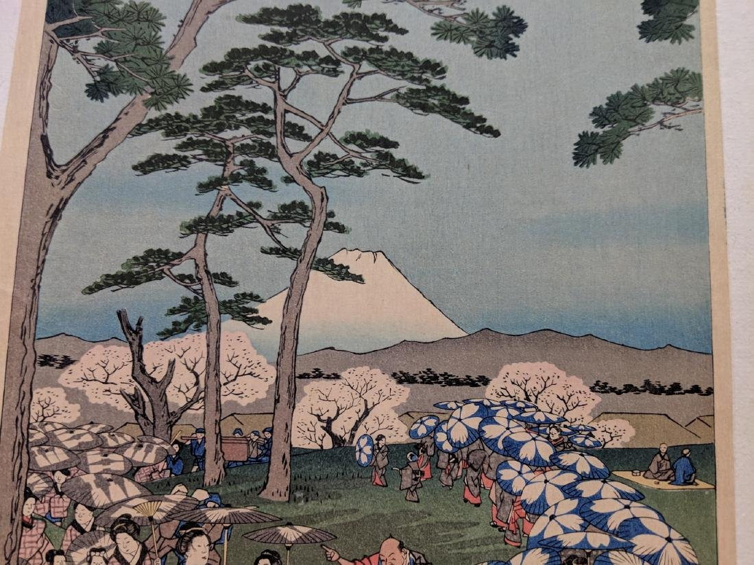 Old Utagawa Hiroshige Japanese Woodblock Print Flower - 3