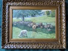 L Clarence Ball Watercolor Painting of Sheep In Shade