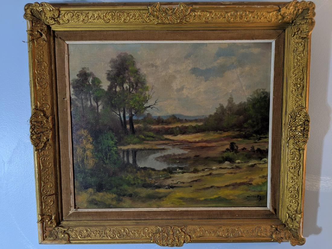 Signed Hillertz Oil on Canvas Painting of Landscape
