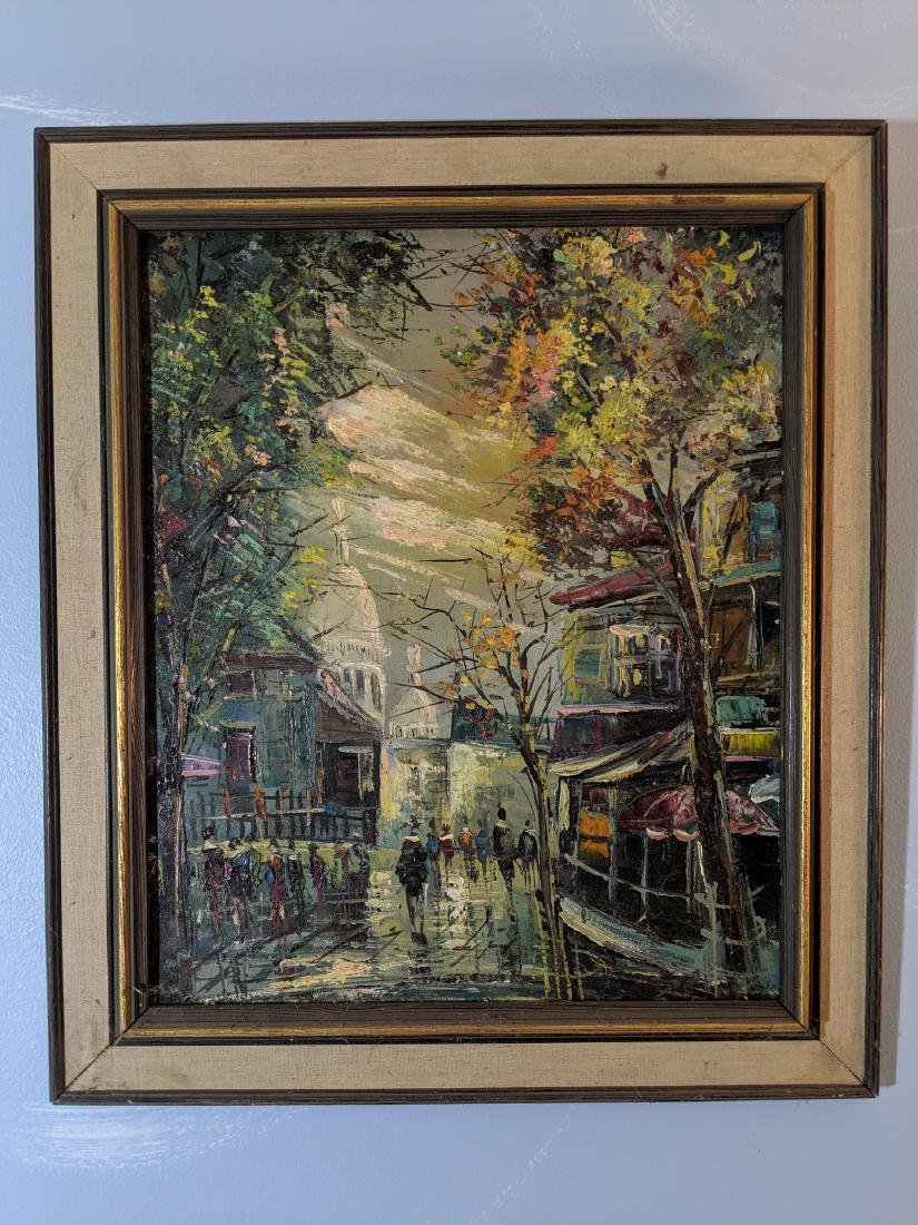 Vintage Signed Abstract Paris Street Oil on Canvas