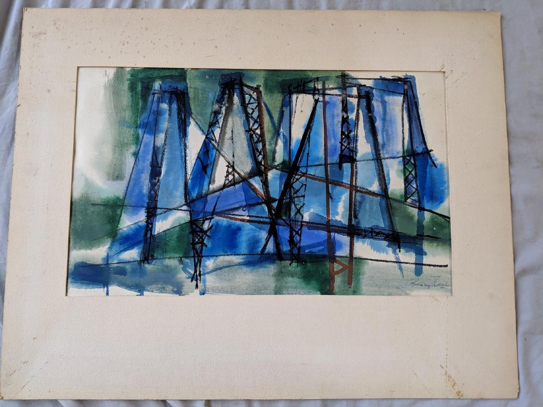 Rosemary Zwick Abstract Bridge Watercolor Painting on