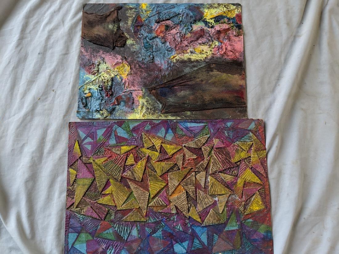 Pair Rosemary Zwick Mixed Media Abstract Paintings