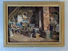 John Whorf Oil on Board Painting Artist in His Studio
