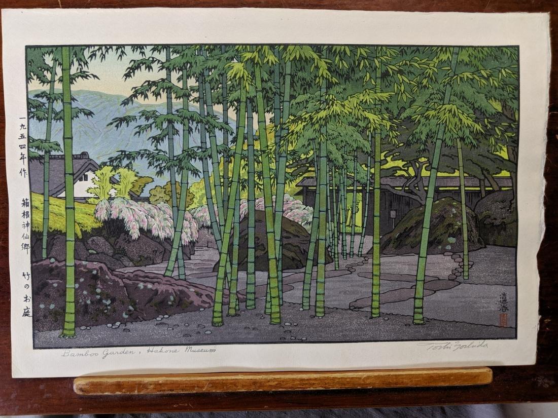 Toshi Yoshida Japanese Woodblock Print Bamboo Garden