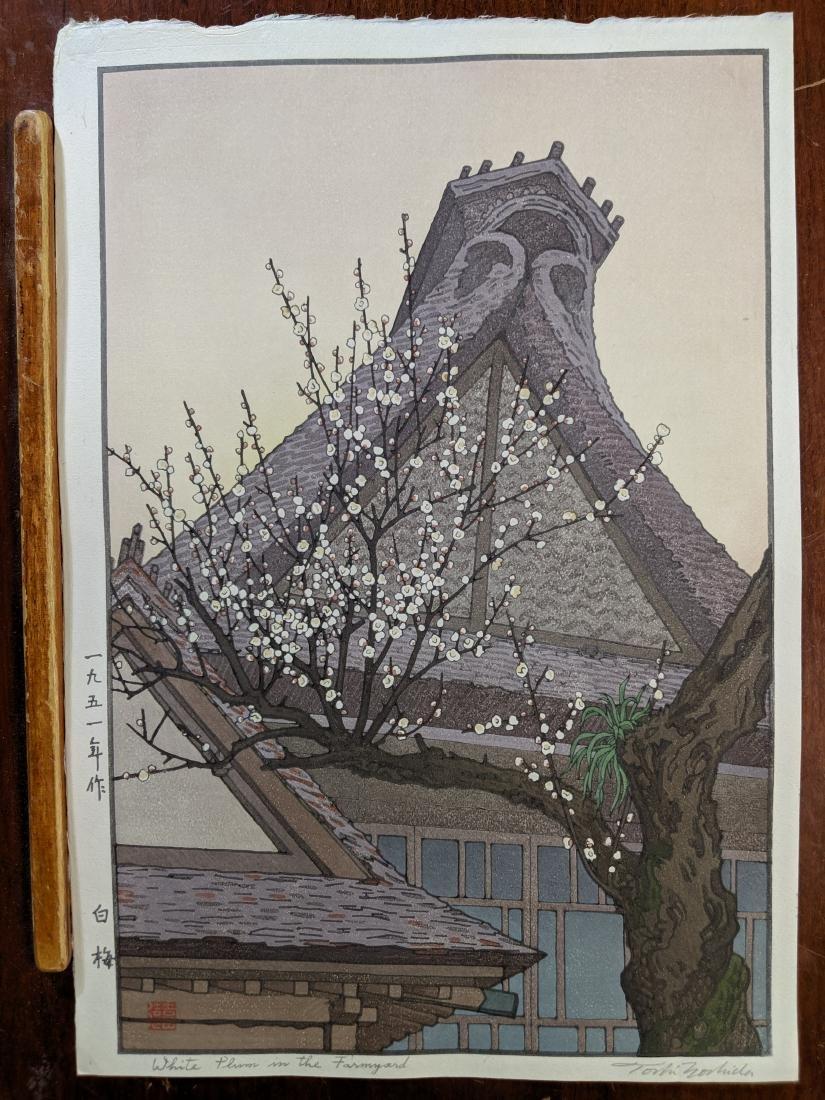 Toshi Yoshida Japanese Woodblock Print White Plum