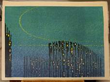 1964 Toshi Yoshida Japanese Woodblock Print Abstruse