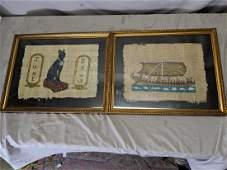 Pair Egyptian Paintings on Papyrus Cat Iris & Ship