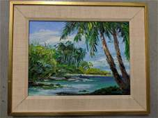 1978 Emrich Nicholson Puako Bay Hawaii Oil Painting