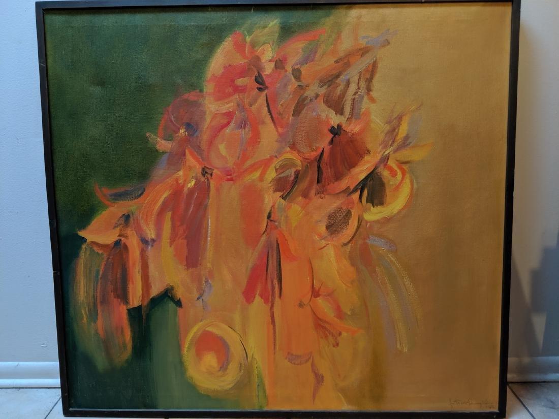 1962 John McLaughlin Abstract Orange Oil Painting