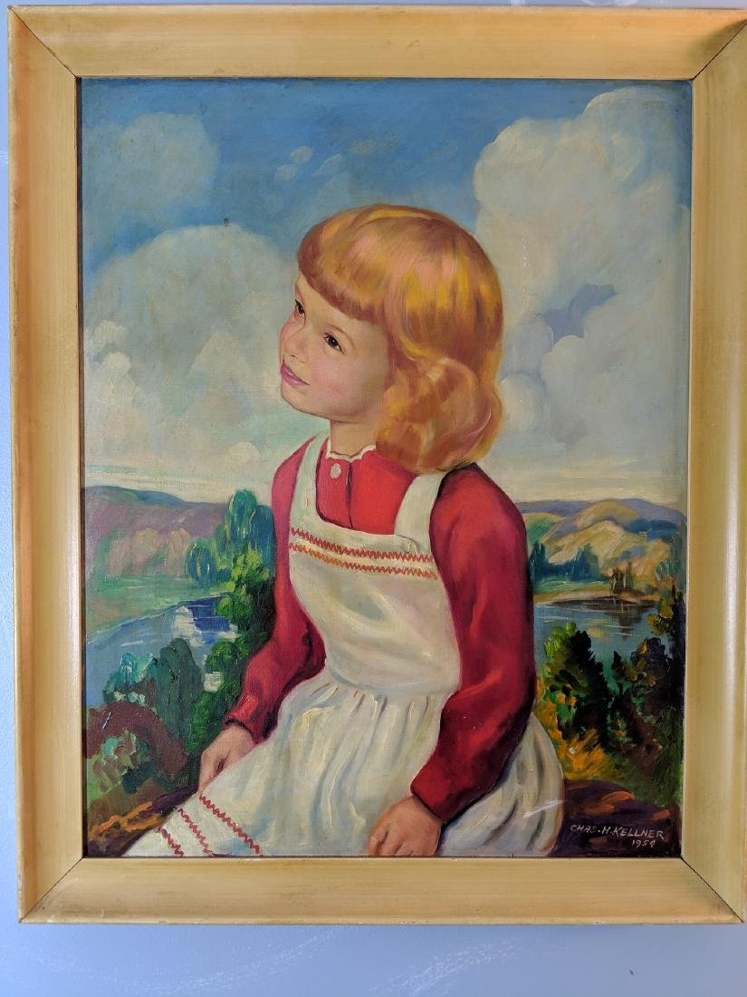 1954 Charles Kellner Oil on Canvas Painting of Young